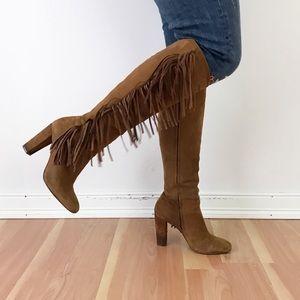LRL Suede Fringe Leather Knee High Heeled Boots 7